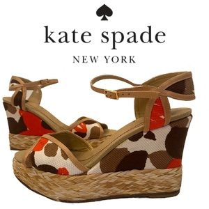 KATE SPADE abstract fabric platform wedge sandals